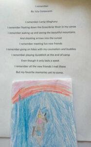 A young camper's poem