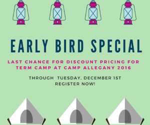 Last chance for early bird pricing for Camp 2016